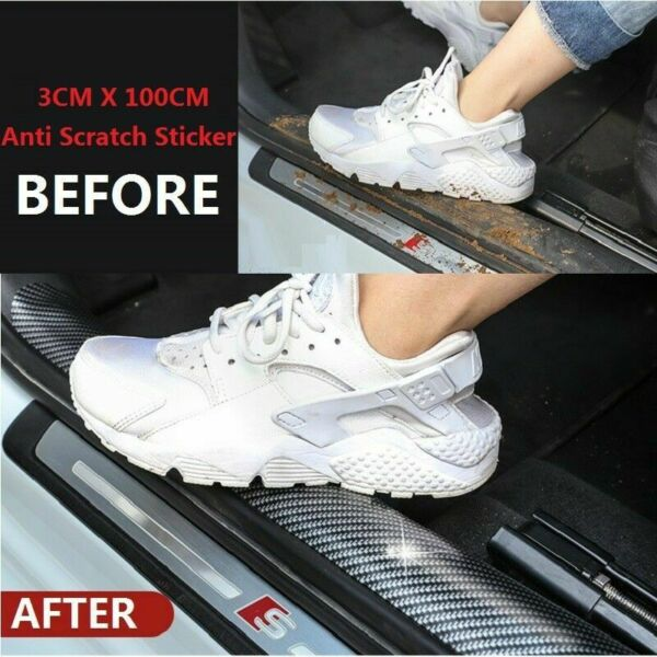 Auto Car Accessories Carbon Fiber Door Plate Cover Anti Scratch Sticker US STOCK