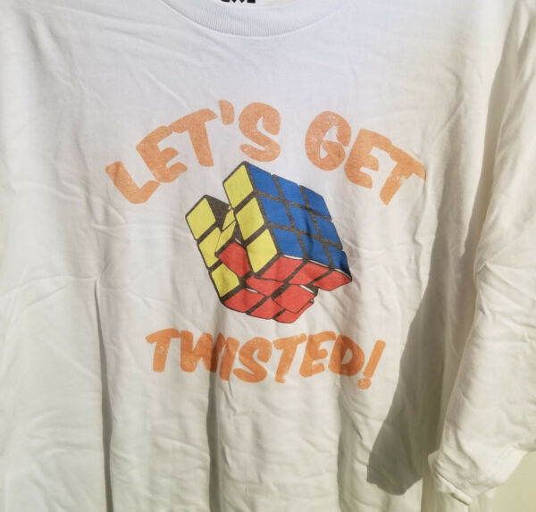 Official Rubik#x27;s Cube Let#x27;s Get Twisted T Shirt 2XL Puzzle Challenge Game
