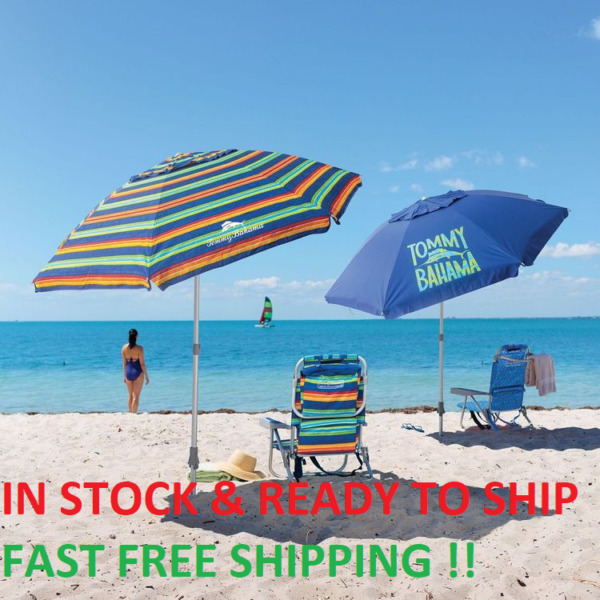 TOMMY Bahama 7' Beach Umbrella w Tilt MULTI-COLOR OR BLUE   FAST FREE SHIPPING!