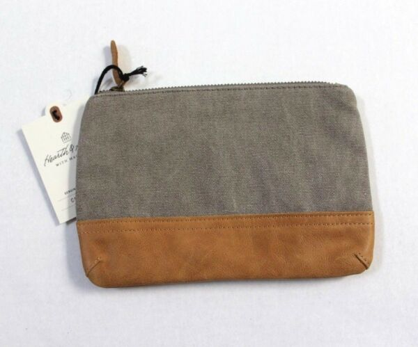 Hearth & Hand with Magnolia Canvas & Leather Cosmetic Bag Gray