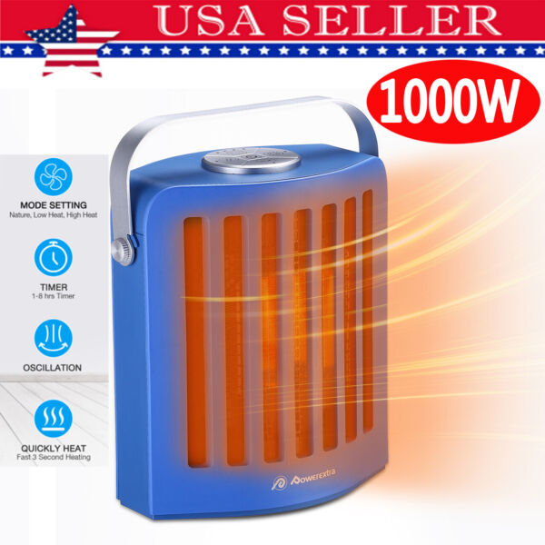 1000W Mini Ceramic Electric Heater Home Office Space Air Heating Portable Silent $37.99