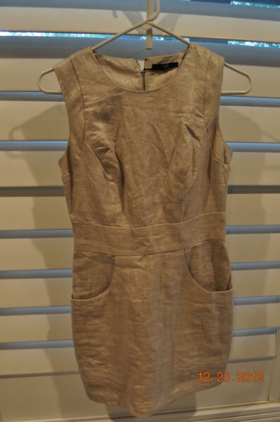NWT Metallic Gold TART Linen Shimmer cocktail Mini club Dress  XS