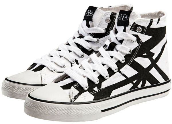 EVH White & Black High Top Sneakers New Official Eddie Van Halen most shoe sizes
