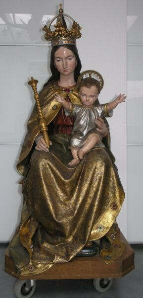 19th C. GOTHIC WOOD CARVED LIFE SIZE VIRGIN MARY & CHILD JESUS