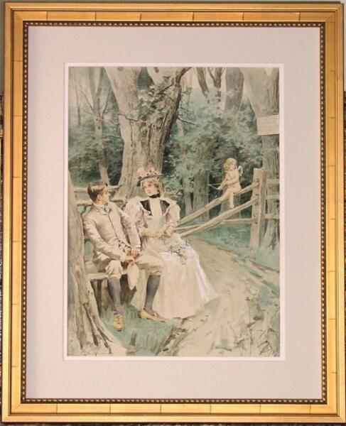 Ex Butterfield & Butterfield Antique Leon Moran Watercolor - Cupid's Bench