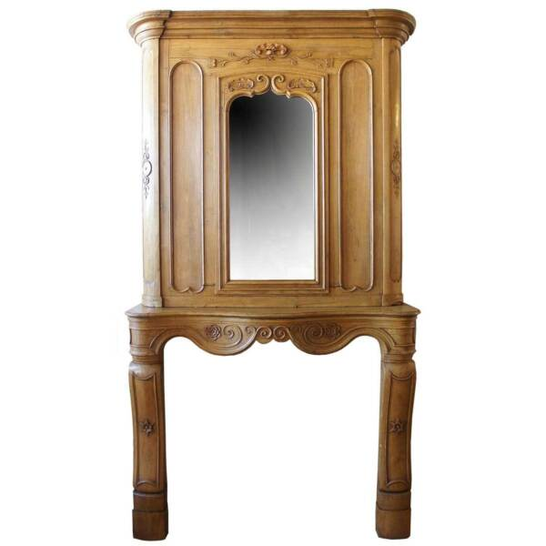 Antique French Fanny Brice Mansion Louis XV Oak Mirrored Fireplace 18th century