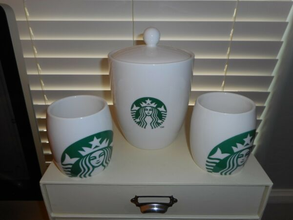Starbucks Coffee Mugs (2) and Canister Set