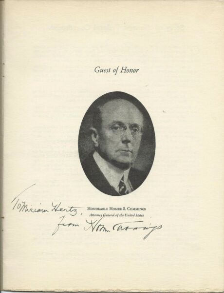 U.S. ATTORNEY GENERAL HOMERS CUMMINGS SIGNED 1936 FEDERAL BAR ASSOC. PROGRAM