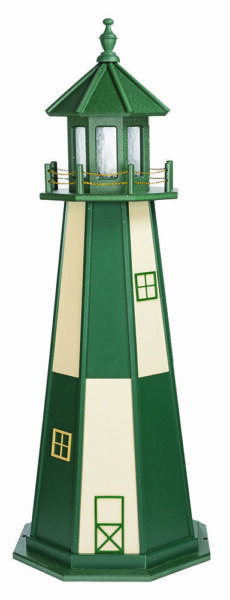 Amish Made Poly Garden Lighthouse Cape Henry Turf Green & Ivory Lighting Options