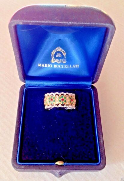 UNIQUE MARIO BUCCELLATI  DIAMONDS EMERALDS AND RUBÍES LACE RING ONLY ONE!
