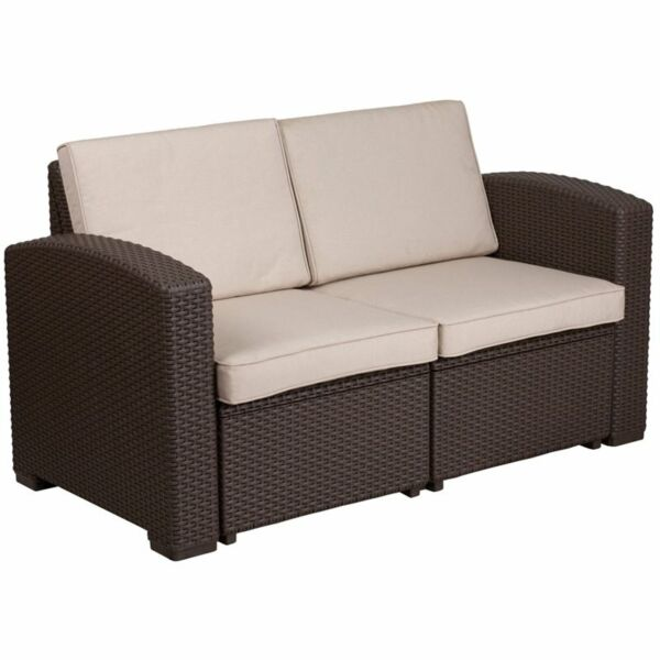 Flash Furniture Wicker Patio Loveseat in Chocolate Brown and Beige $286.99