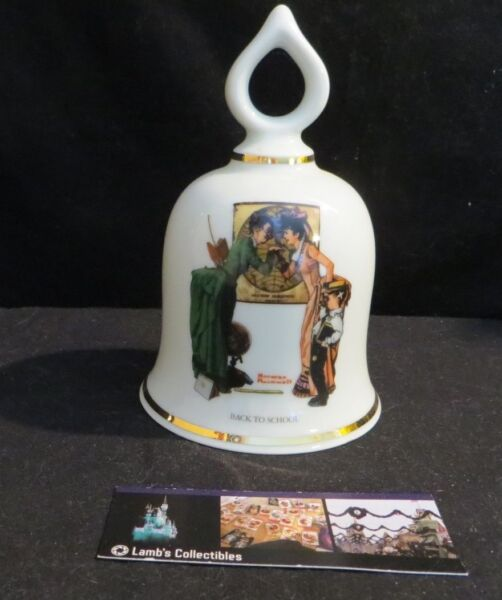 Norman Rockwell ceramic bell Back to School Danbury Mint 1979 Limited Edition $19.59