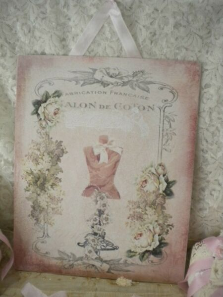 Shabby Chic Vintage  French  PARIS Dress Form Roses Hanging Plaque 8
