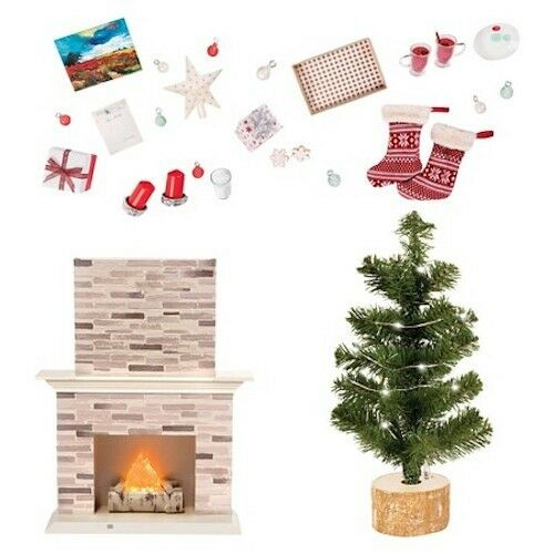 Our Generation Holiday Celebration Set Christmas Tree Fireplace for 18