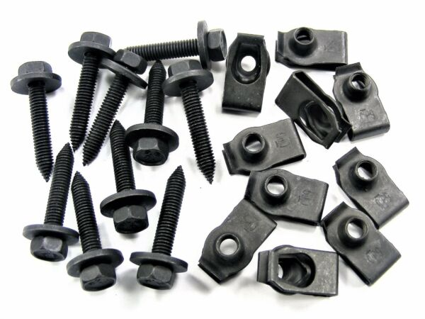 Mopar Body Bolts & U-nut Clips- M6-1.0 x 35mm Long- 10mm Hex- 20 pcs- #144