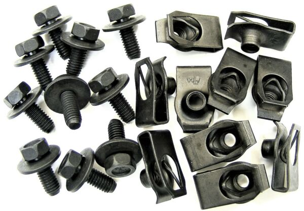 Mopar Bolts & U-nut Clips- M6-1.0 x 16mm Long- 10mm Hex- 20 pcs (10ea)- #379