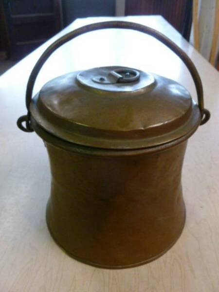 antique copper clad lunch pail. berry box travel container.orginal forged pot