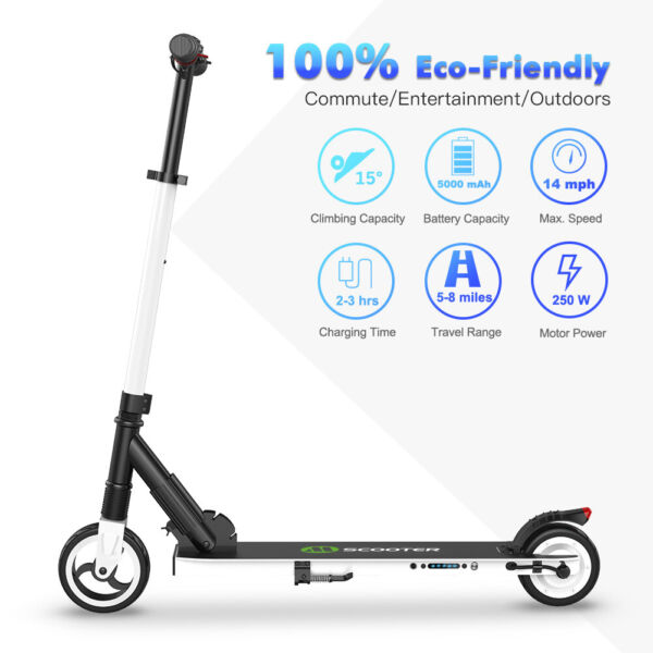 Folding Electric Scooter 250W 14MPH Aluminum Portable Teens City E-Scooter White