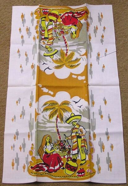 Vintage Kitchen Tea Towel Mexican Theme Man Woman Flowers Pottery Red Yellow