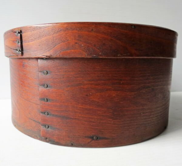 Antique Round WOOD PANTRY BOX with Cover 9quot; Dia.
