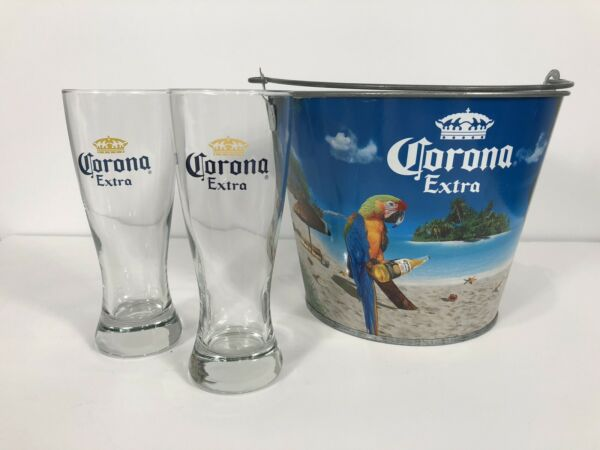 Corona Beer Glasses & Metal Chiller Bucket Pail Beach Home Bar
