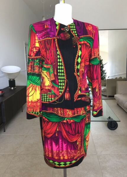 GIANNI VERSACE COUTURE iconic I Sipari  Theater Drapes print wool skirt suit