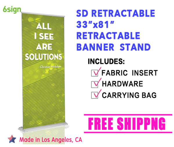 Premium High Quality SD 33quot;×61 86quot; Flexible Height Retractable Stand Banner Set $59.99