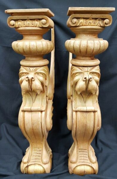 2 Large Hand Carved Winged Griffin Mantle Wall Mount Sofa Table Legs
