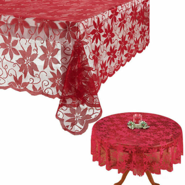 US Festival Table Cloth Red Lace Table Cover Wedding Holiday Xmas Room Decor