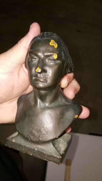 VINTAGE GEORGE WASHINGTON BUST STATUE EXTREMELY HEAVY! CAST IRON BRONZE OVERLAY