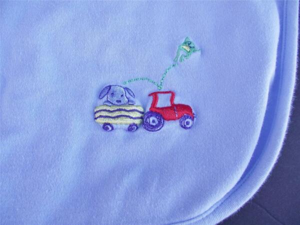 Carter#x27;s Baby Blue Cotton Blanket Puppy Dog Tractor Trailer Frog $19.99