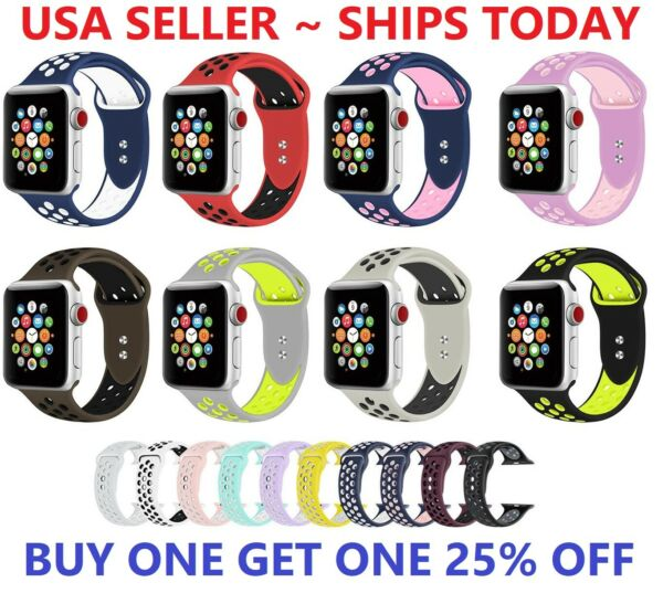Replacement Silicone Sport Band 38mm 42mm For Nike+ Apple Watch Series 1 2 3 4 5