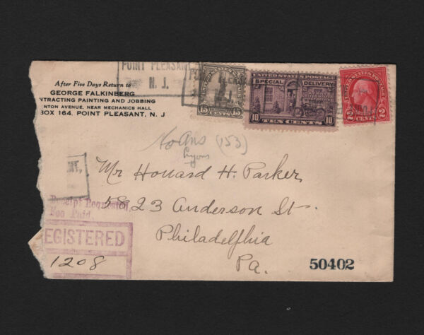 OPC 1930 Point Pleasant NJ To Philadelphia Registered Special Delivery