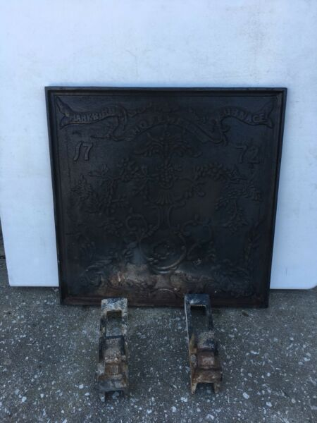 "1772 Hopewell Cast Iron Fireback With Footed Stand 23"" Markbird Furnace Panel"