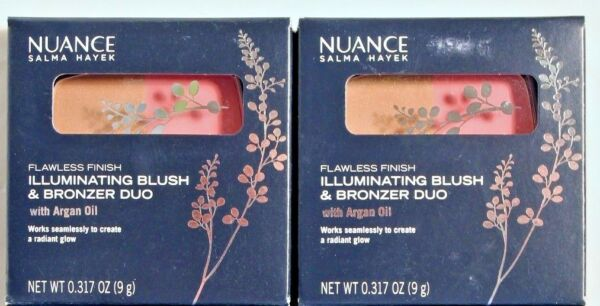 2 Nuance Blush and Bronzer Duo Shade 555 Coral Glow Salma Hayek New Cruelty Free