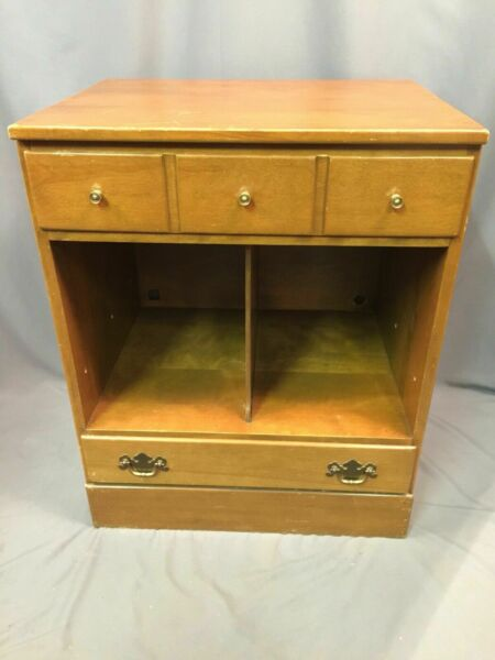 Baumritter Ethan Allen Vintage Nightstand Record Storage End Table Made In USA