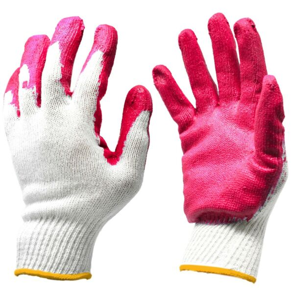 PREMIUM Red Latex Rubber Palm Coated Garden Work Safety Gloves - MADE IN KOREA