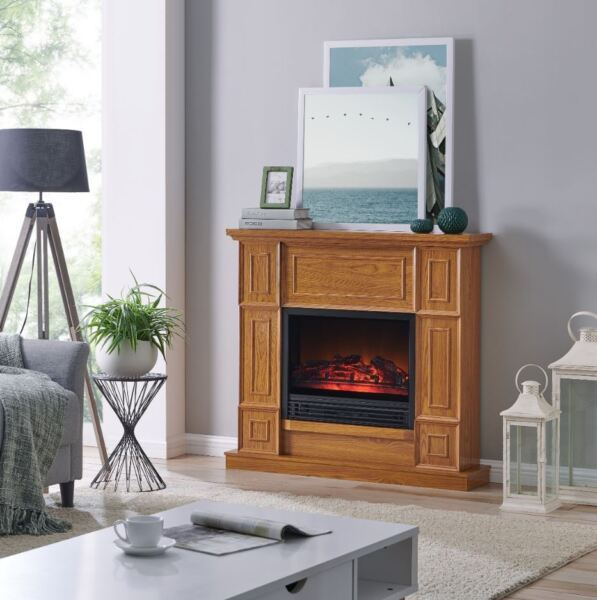 Elec Fireplace Heater 43 Inch Electric Mantle Adjustable Flame Remote Control
