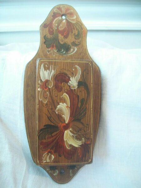 Vintage Match Holder Fireplace Match Holder Wooden Tole Painted circa 1970s
