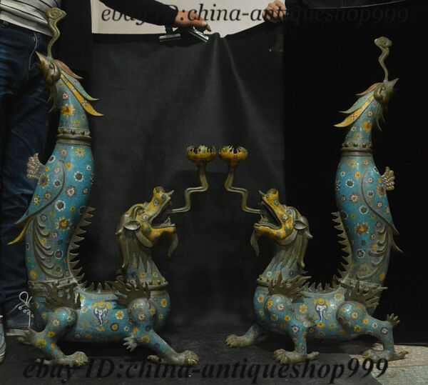 Old China Bronze Cloisonne Dragon Phoenix Candle Holder Candlestick Statue Pair