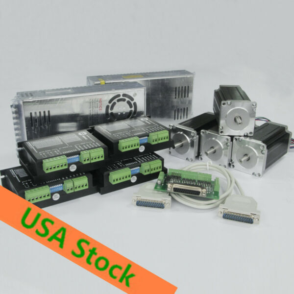 ALL SHIP 4axis Nema23 stepper motor 425oz-in 4.2A Single shaft& Driver 18-50v