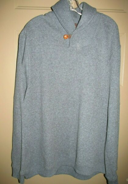 Tasso Elba NEW Blue Cowl Neck Pullover Cotton Sweater Shirt Men's XL TD2-n