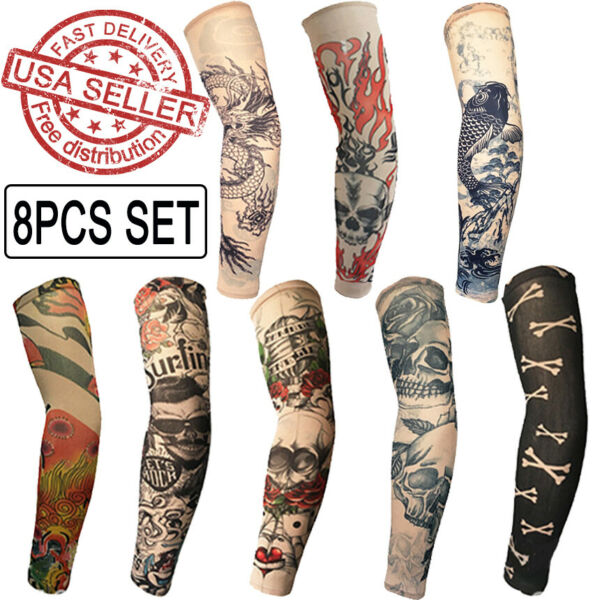 8PCS Tattoo Cooling Arm Sleeves Cover UV Sun Protection Outdoor Sports Golf $12.99