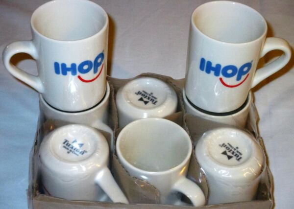 NEW IHOP Happy SMILEY FACE Logo COFFEE MUG Restaurant White Diner Cup TUXTON 18