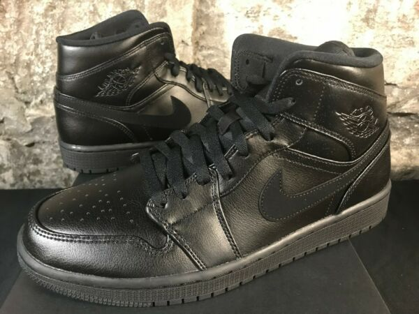 Air Jordan 1 Mid Triple Black 554724-090 Retro Men's NEW IN BOX 2019 SIZE 8.5-13