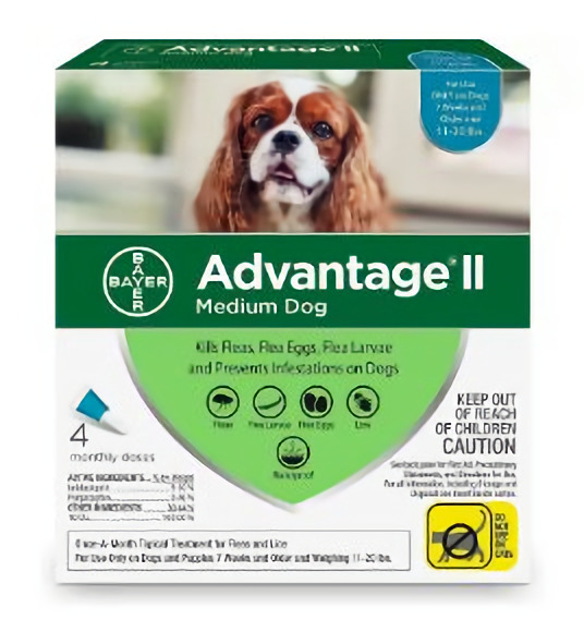 Advantage II for Medium Dogs 11-20lbs 4 month supply EPA APPROVED