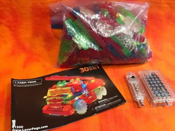 Laser Pegs Fire Truck 30 in 1 Build Building Set Lights Up National Geographic