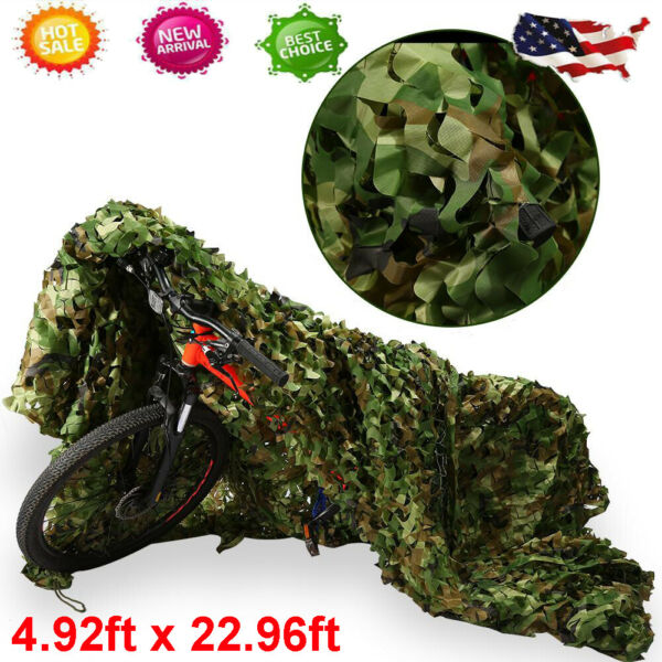 Woodland Camouflage Netting Military Army Camo Hunting Cover Net 5x23FT