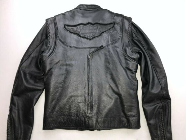 HARLEY DAVIDSON WOMEN'S WILLIE G 2-IN-1 LEATHER JACKET VEST SMALL 98515-99VW