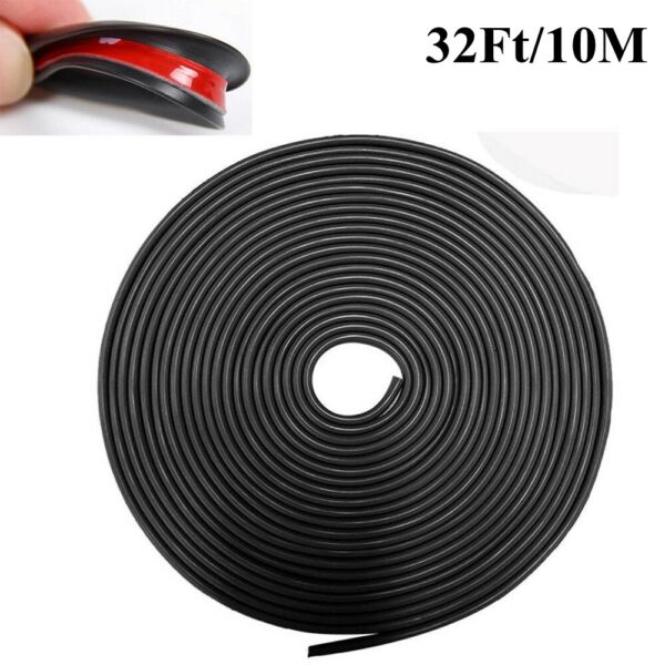 Black 32Ft U Shape Rubber Seal Car Door Edge Guard Molding Trim Protectors Strip